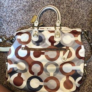 Coach brown/white/blue purse